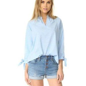 Madewell Striped Tie Sleeve Popover Tunic Top Blue